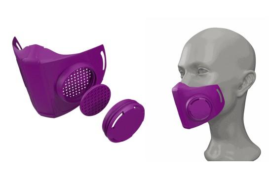 Simulation masque de la marque COPPER 3D, imprimée à base de filaments de cuivre, virucide
